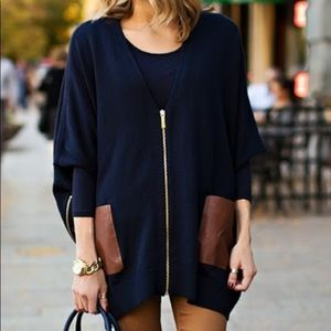 Michael Kors Navy poncho with brown leather pocket